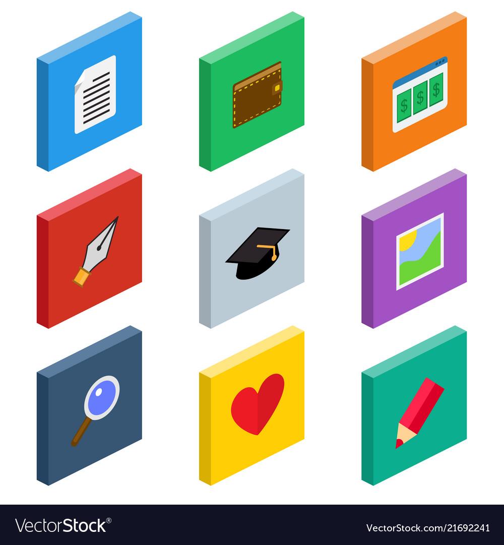 Isometric web icons