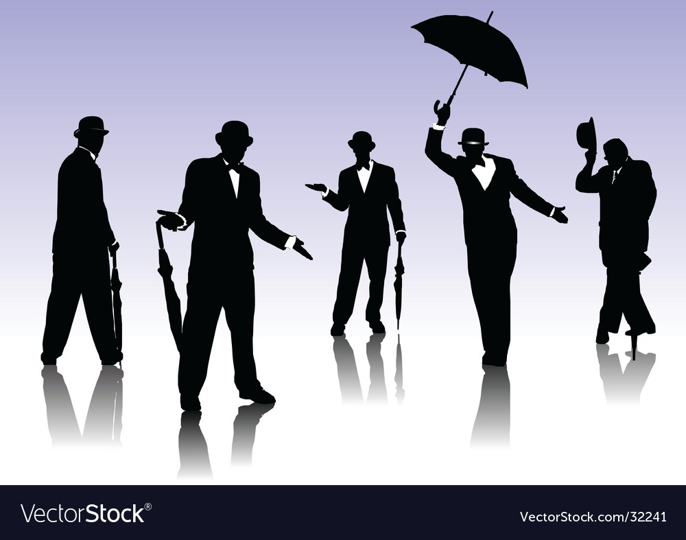 Men silhouettes with umbrella vector image