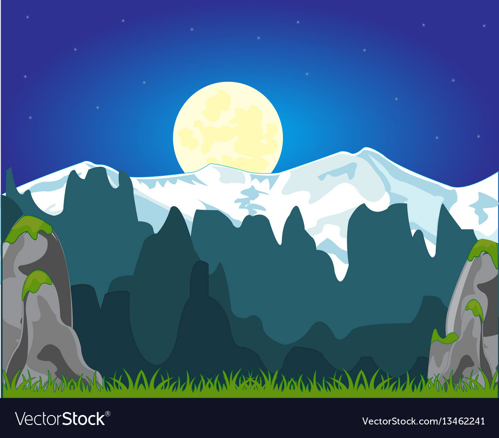 Moon night and mountains