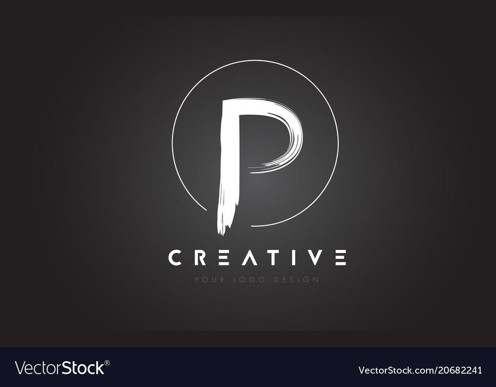 P Brush Letter Logo Design Artistic Handwritten Vector Image