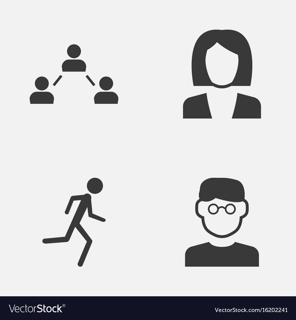 Person icons set collection of network running