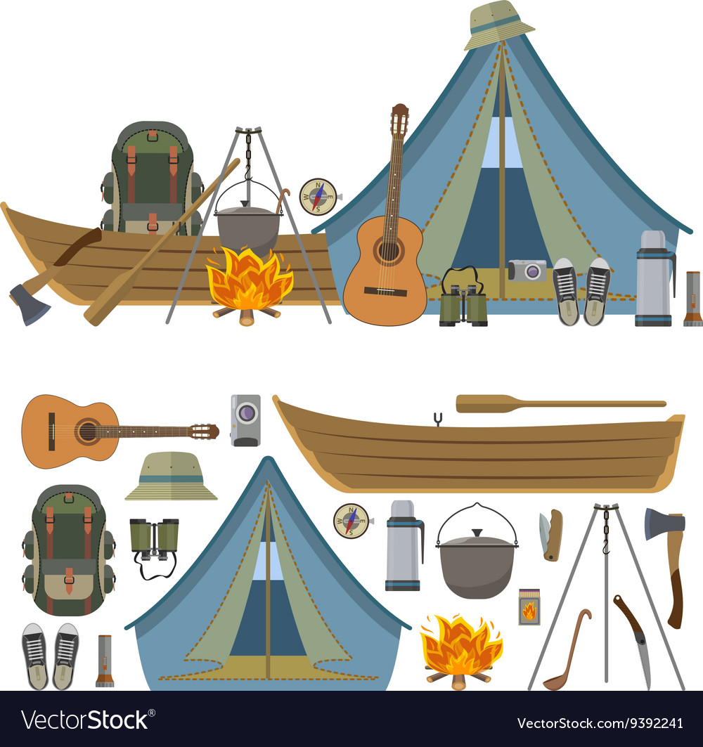 Set of camping objects and tools isolated