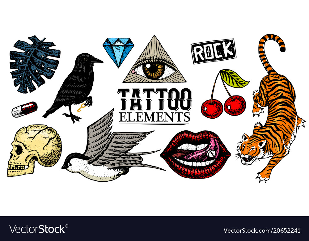 Set of fashion patches tattoo artwork for girls