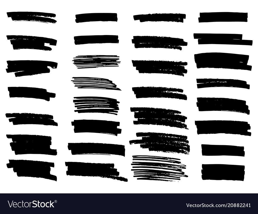 Set of grunge brush strokes highlighter brush