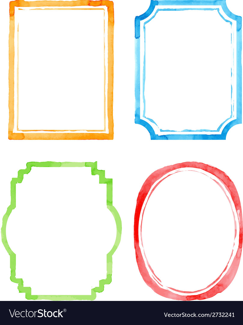 Set watercolor frames Royalty Free Vector Image