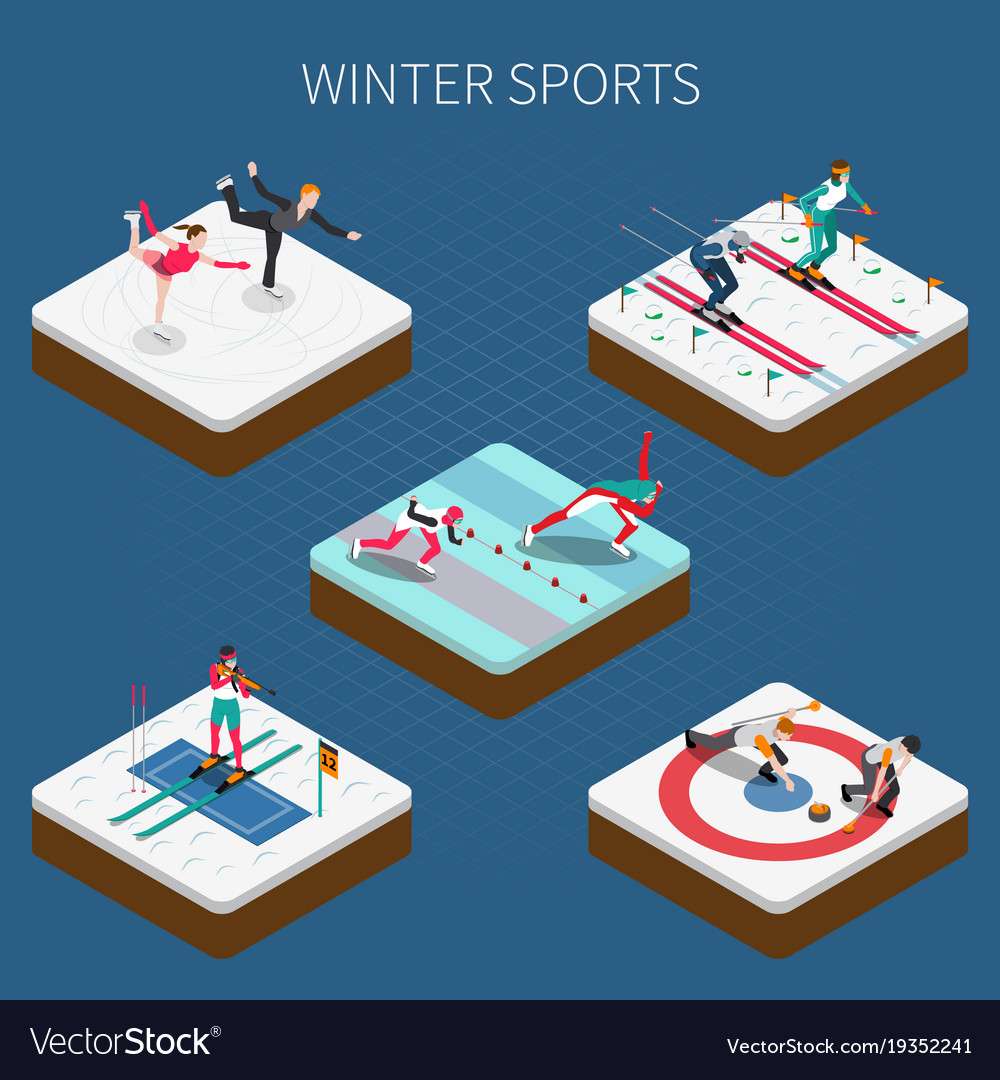 Winter sports isometric composition vector image