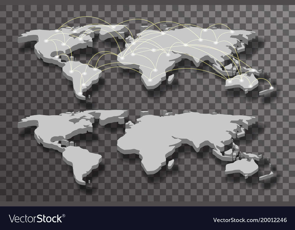 3d world map shadow light connections transparent