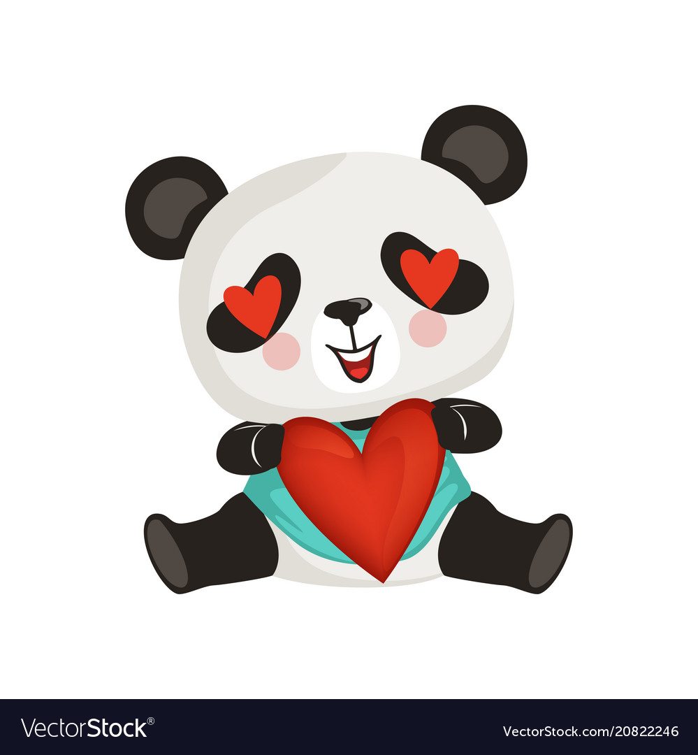 Adorable panda holding red heart cute enamored