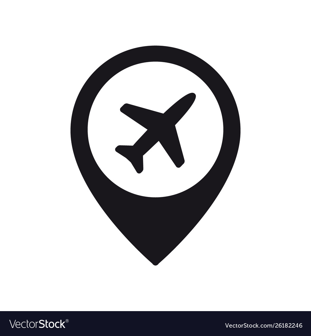 Airplane in location pin symbol plane aircraft