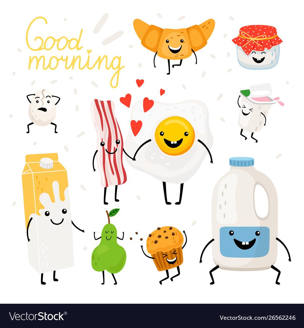 Breakfast food characters set