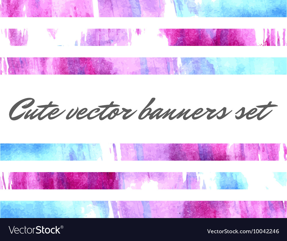 cute watercolor banners royalty free vector image