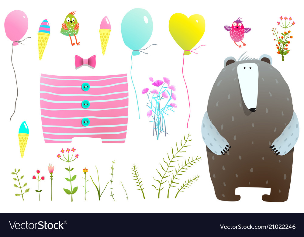 Dress and items for bear clipart set vector image