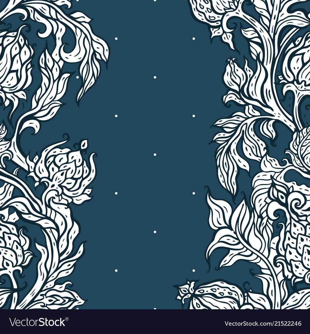 Exotic garden hand drawn paisley flowers