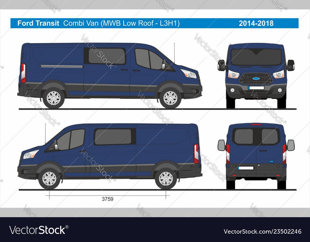 5e64bb2d08 Ford transit combi delivery van mwb l3h1 2014-2018 vector image