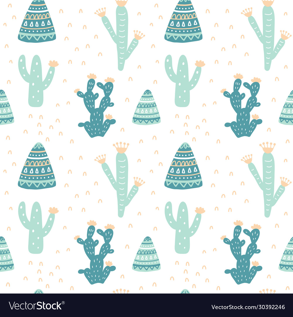 Hand drawn cacti seamless repeat pattern