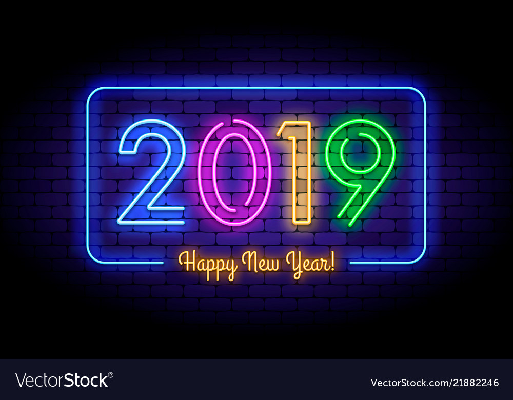 Happy new year 2019 in colorful trend