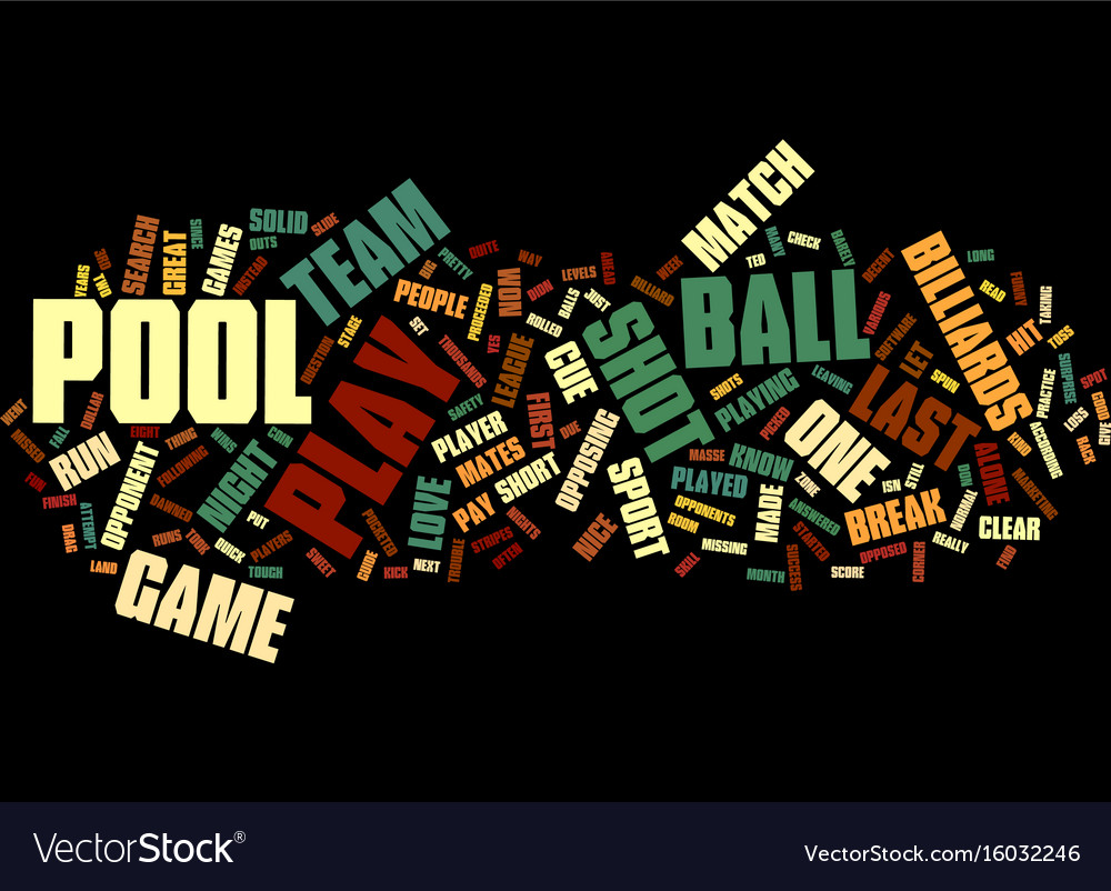 Let s play pool text background word cloud concept