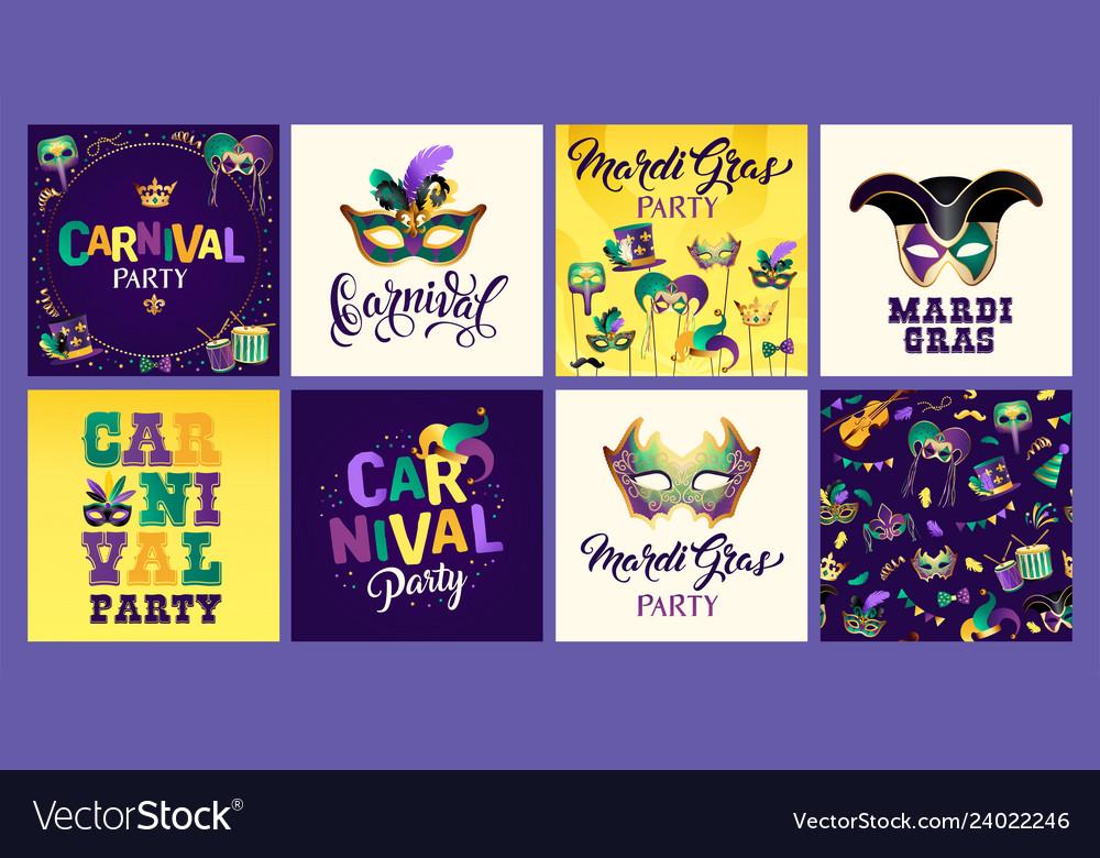 Mardi gras carnival set icons design element