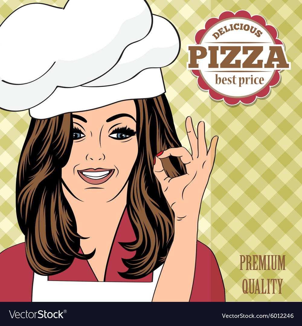 Pizza advertising banner with a beautiful lady vector image