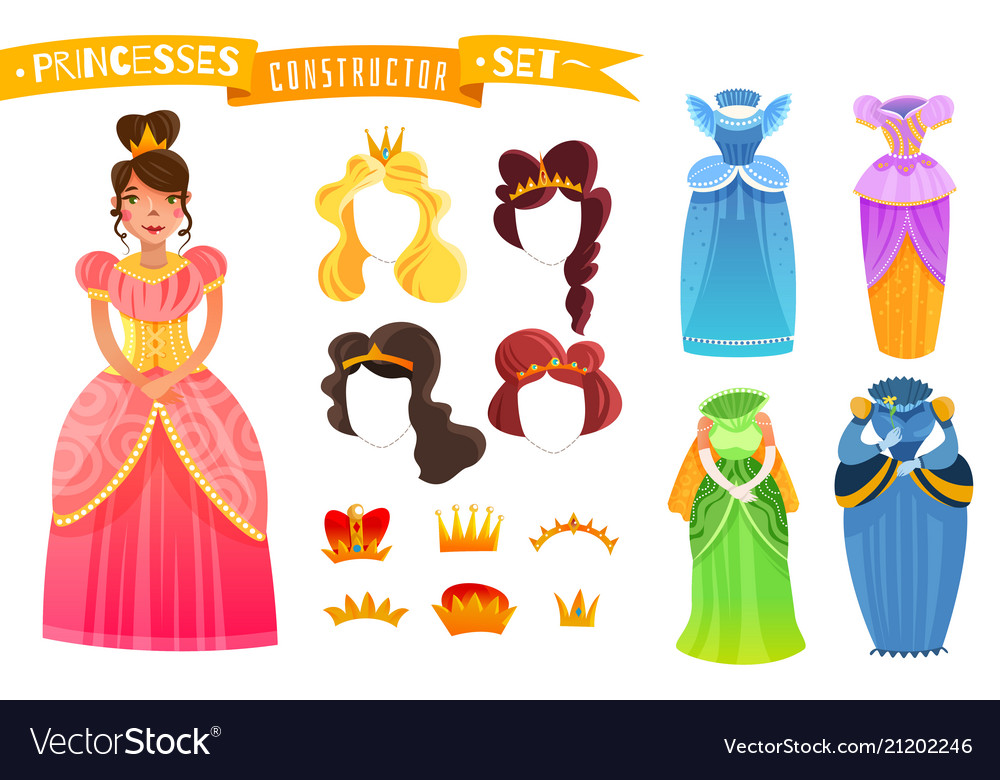 Princesses constructor set vector image