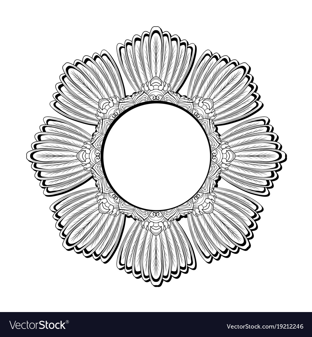 round contour feather mandala from bird tails and vector image