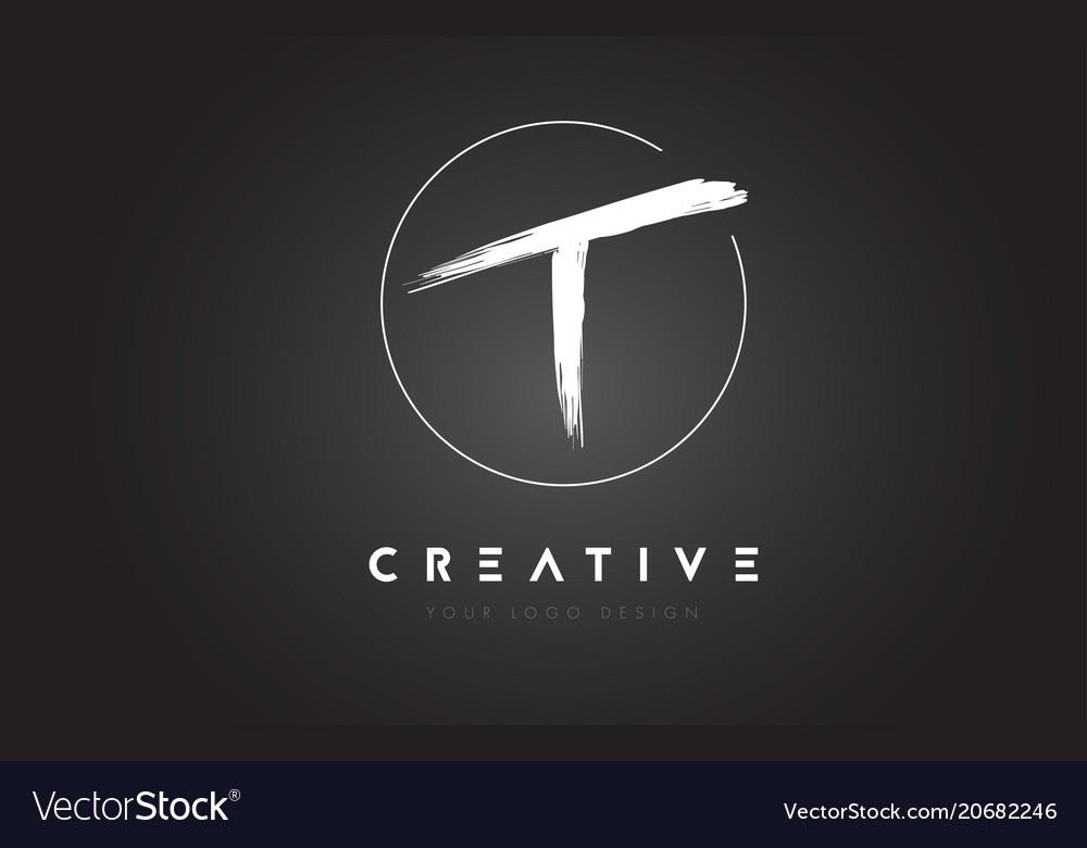 T brush letter logo design artistic handwritten