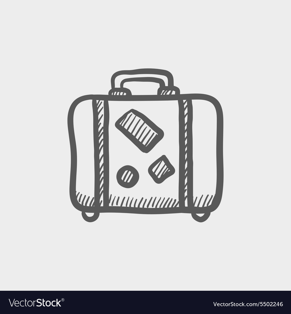 Travel luggage sketch icon