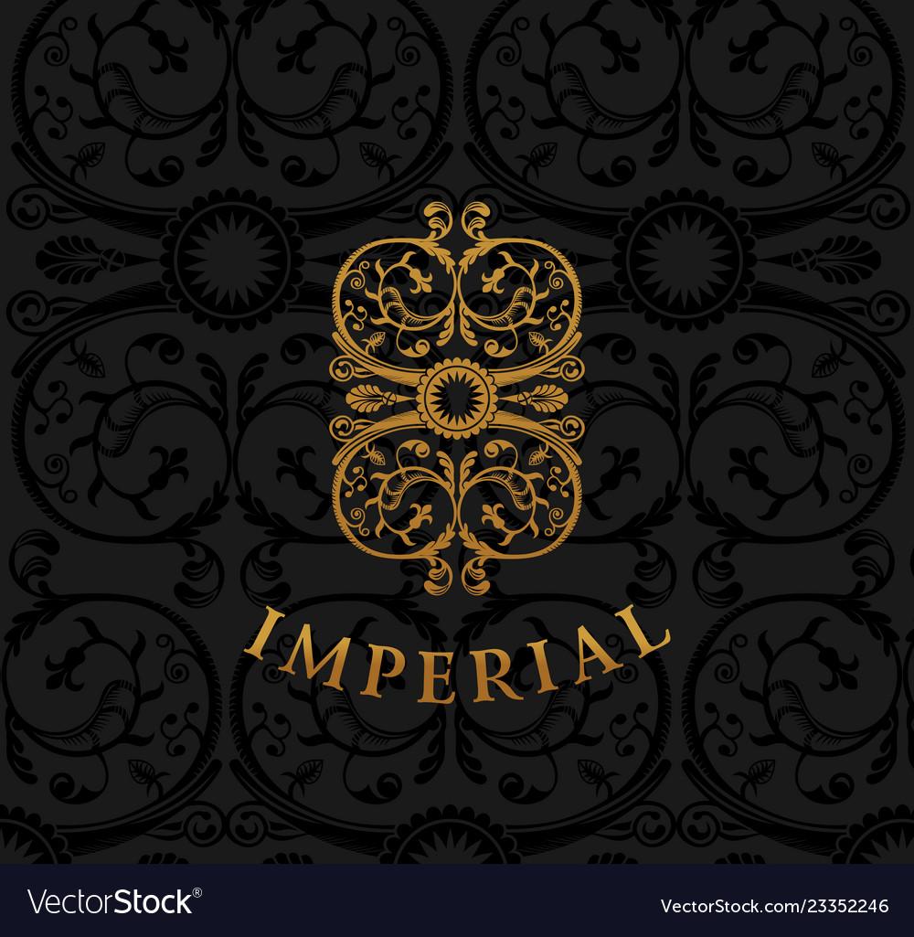 Vintage emblem flourishes crest calligraphic