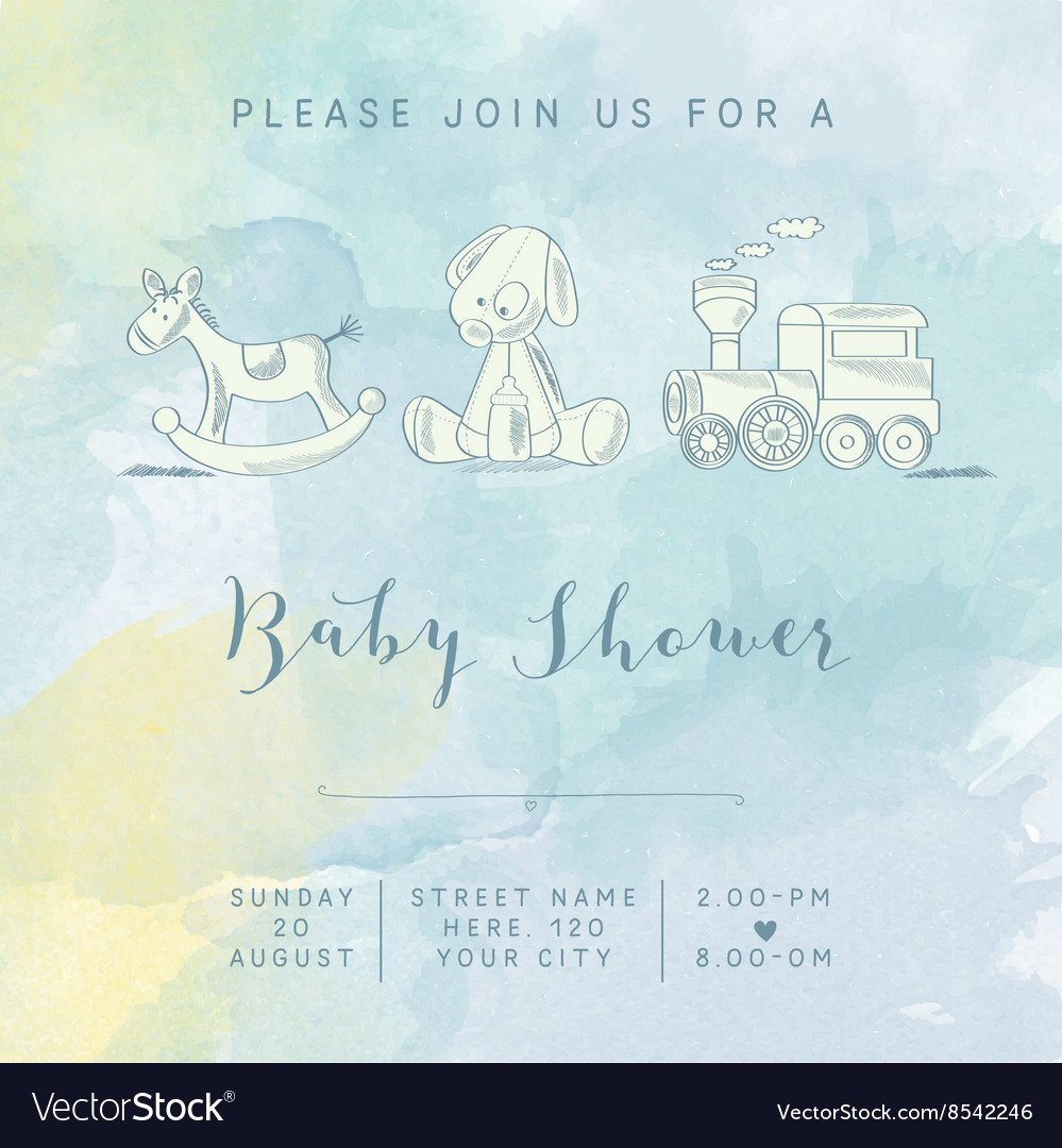 f0bcb4fc1 Watercolor baby boy shower card with retro toys Vector Image