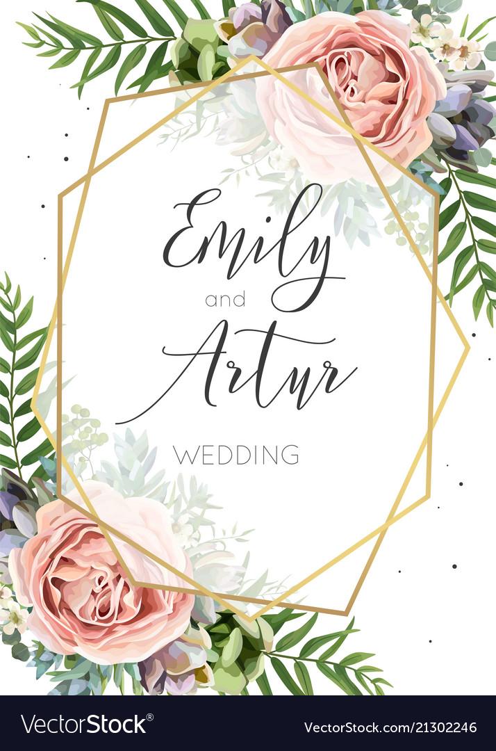 Wedding invitation floral invite save date