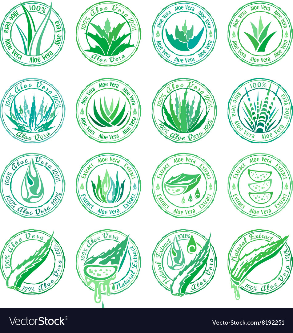 Aloe vera design elements Stamps collection