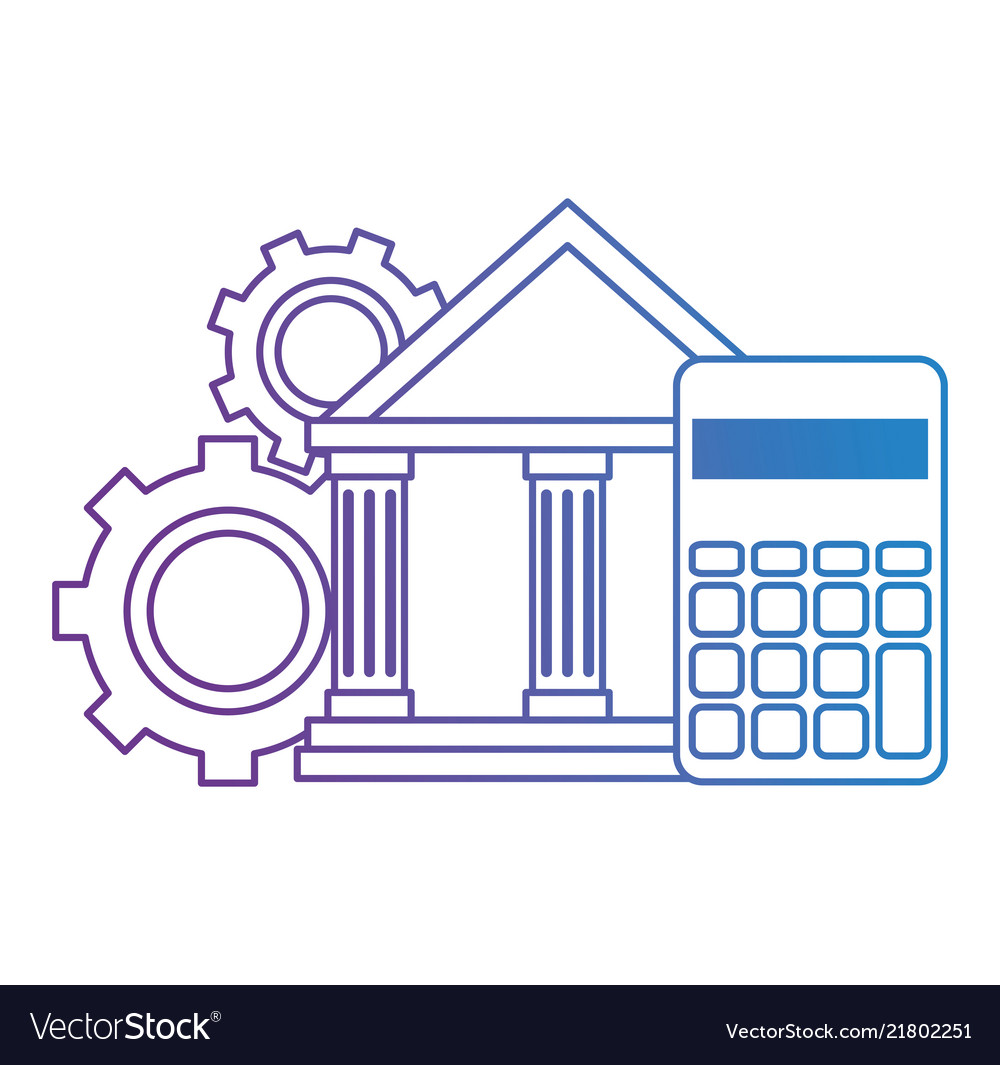Bank building with calculator and gears
