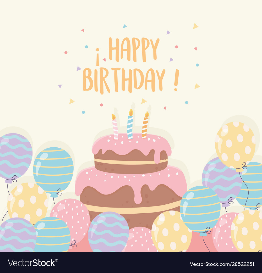 Excellent Birthday Cake With Candles And Balloons Party Vector Image Personalised Birthday Cards Epsylily Jamesorg