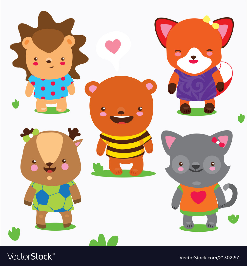 Cartoon collection of cute forest baby animals