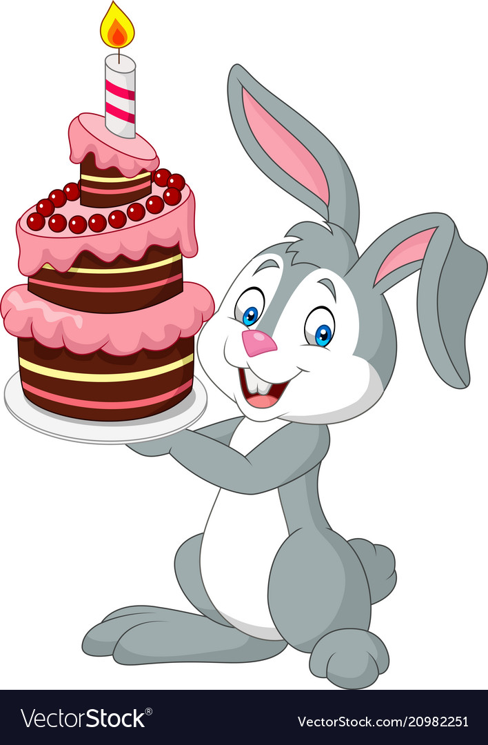 Cartoon rabbit holding birthday cake