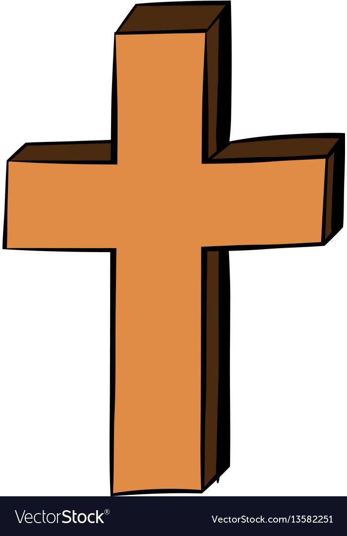 Christian cross icon cartoon