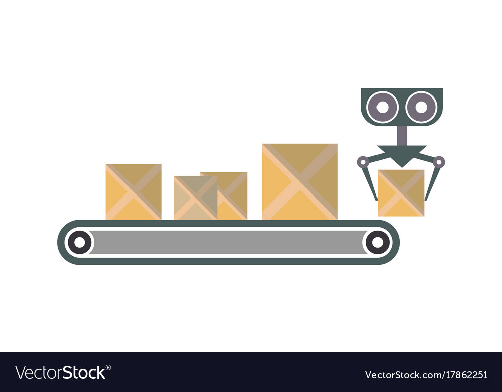 Conveyor with packing boxes icon