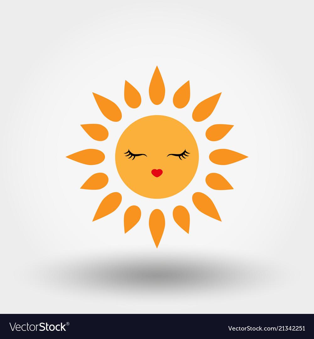 Kawaii sun icon flat