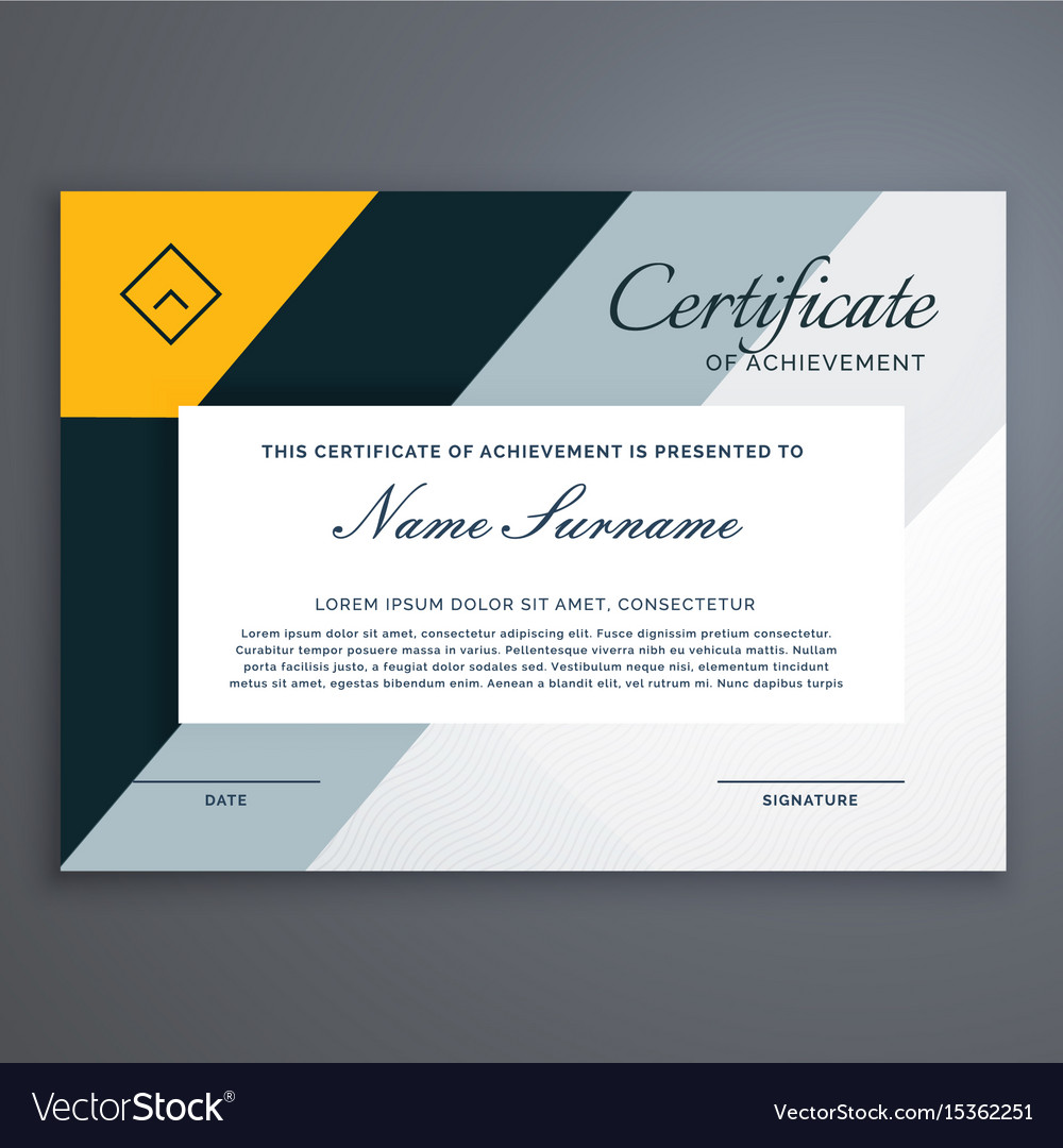 modern certificate design in yellow geometric vector image