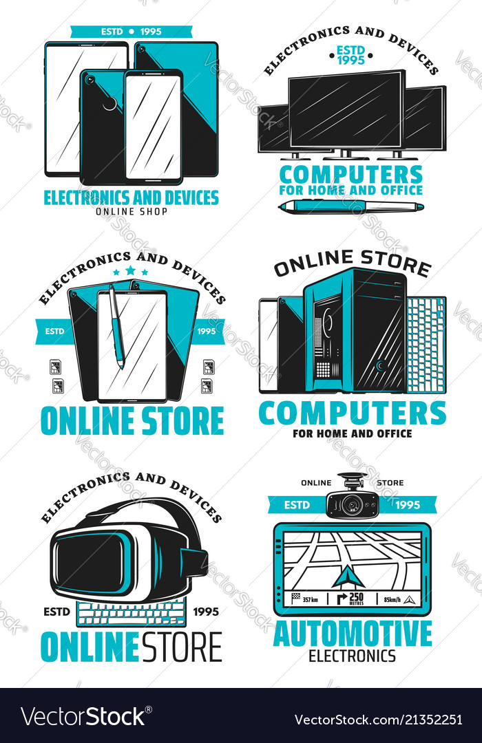 Online store devices and electronics icons