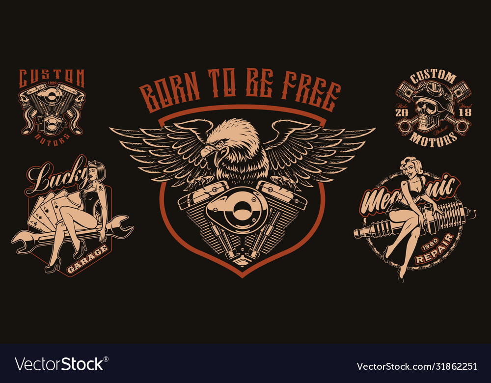 Set biker-themed for apparel