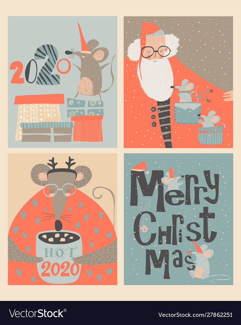 Set christmas cards with cute mouse and santa