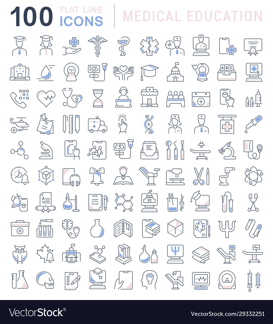 Set line icons medical education