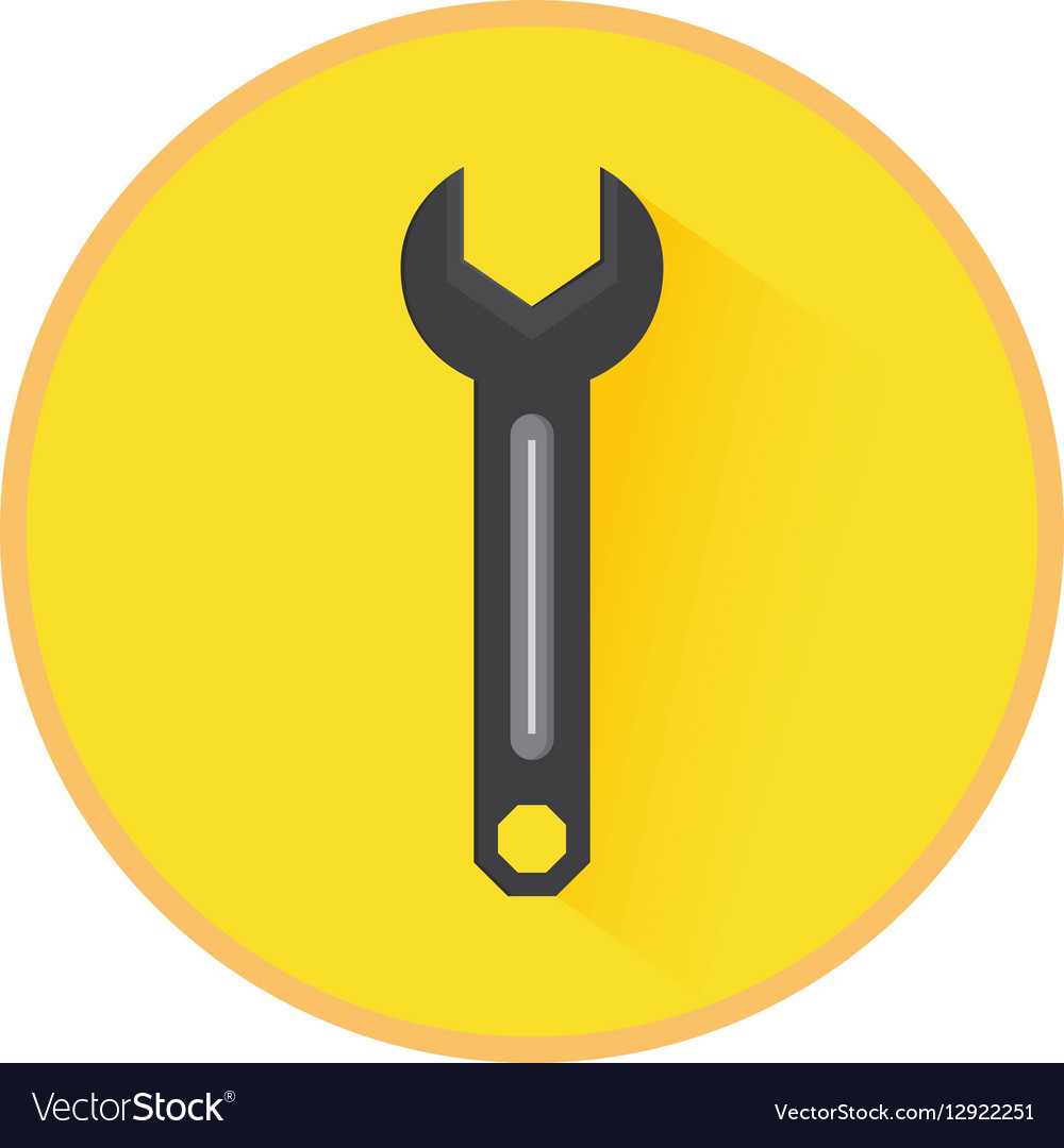 Technical service solutions wrench emblem vector image