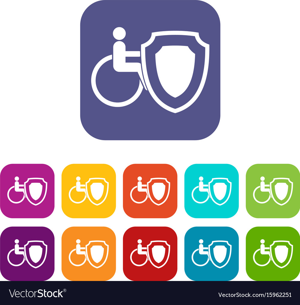 Wheelchair and safety shield icons set