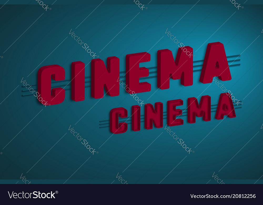 3d cinema sign