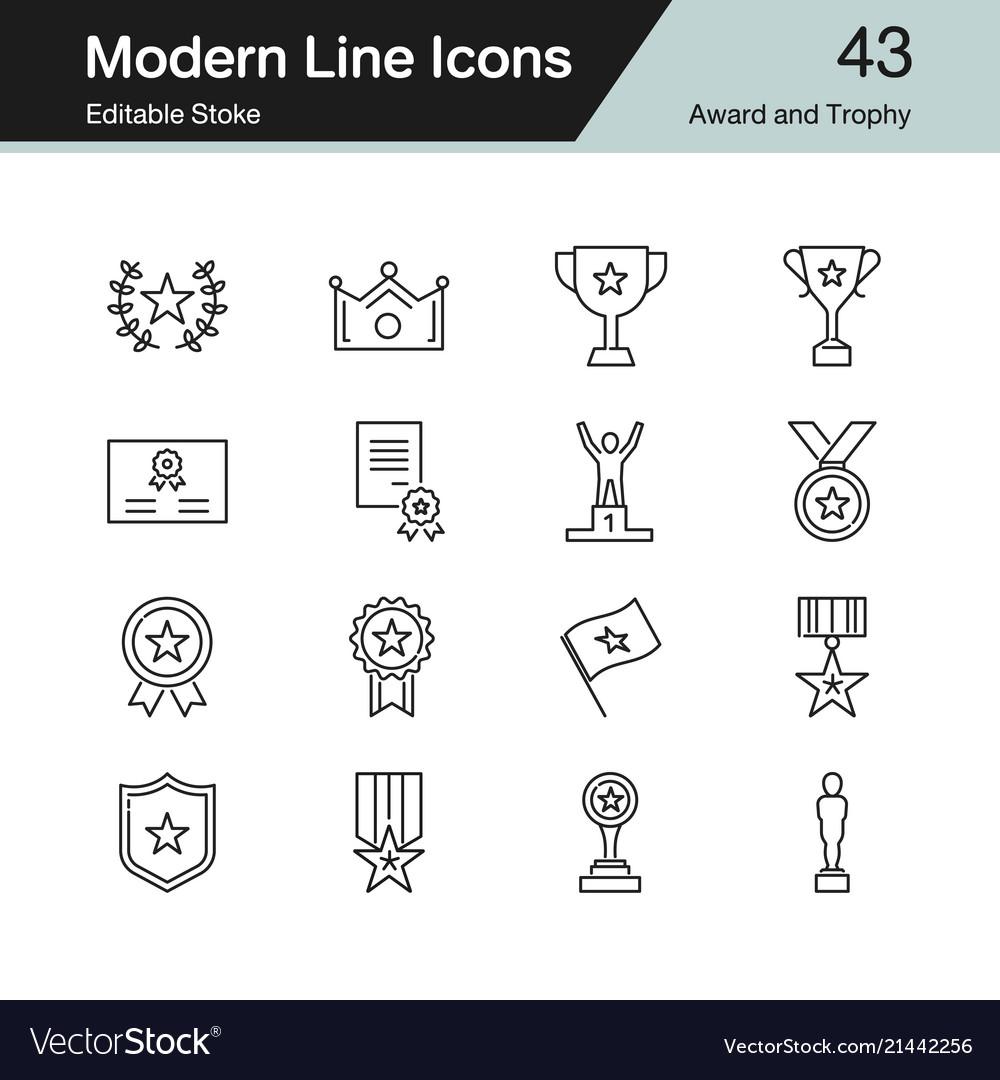Award and trophy icons modern line design set 43