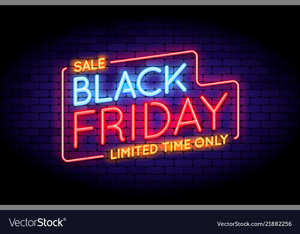 Black friday sale in neon style