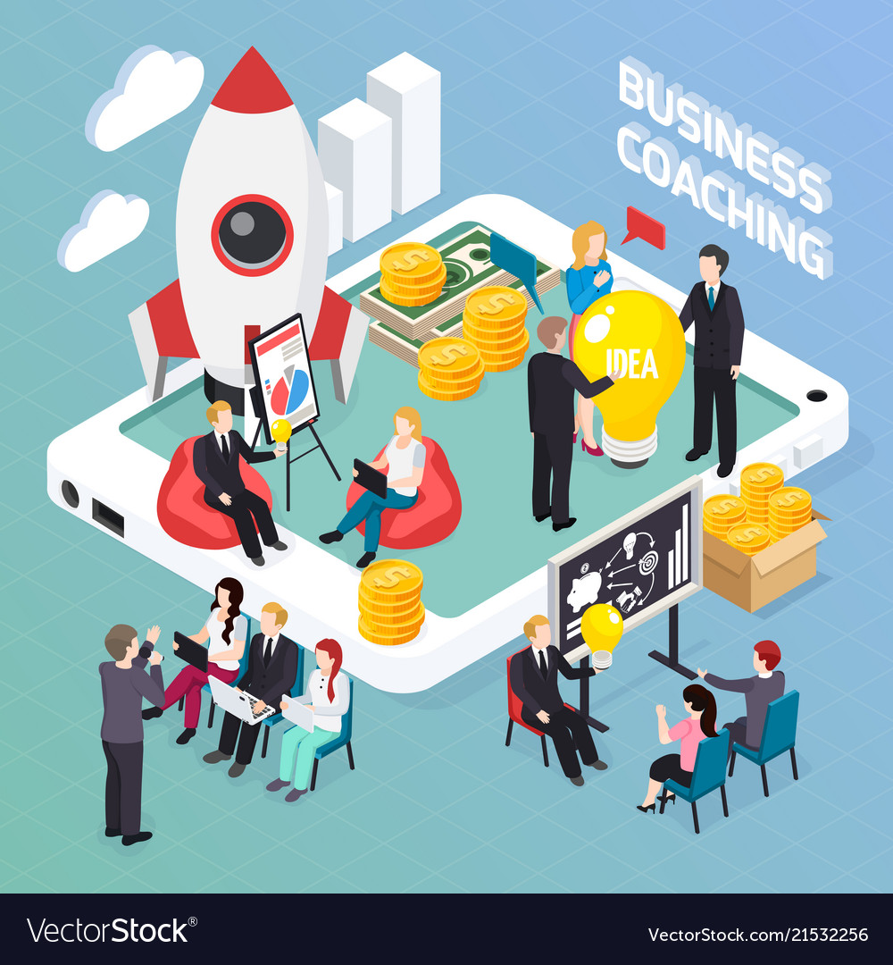 Business coaching isometric composition
