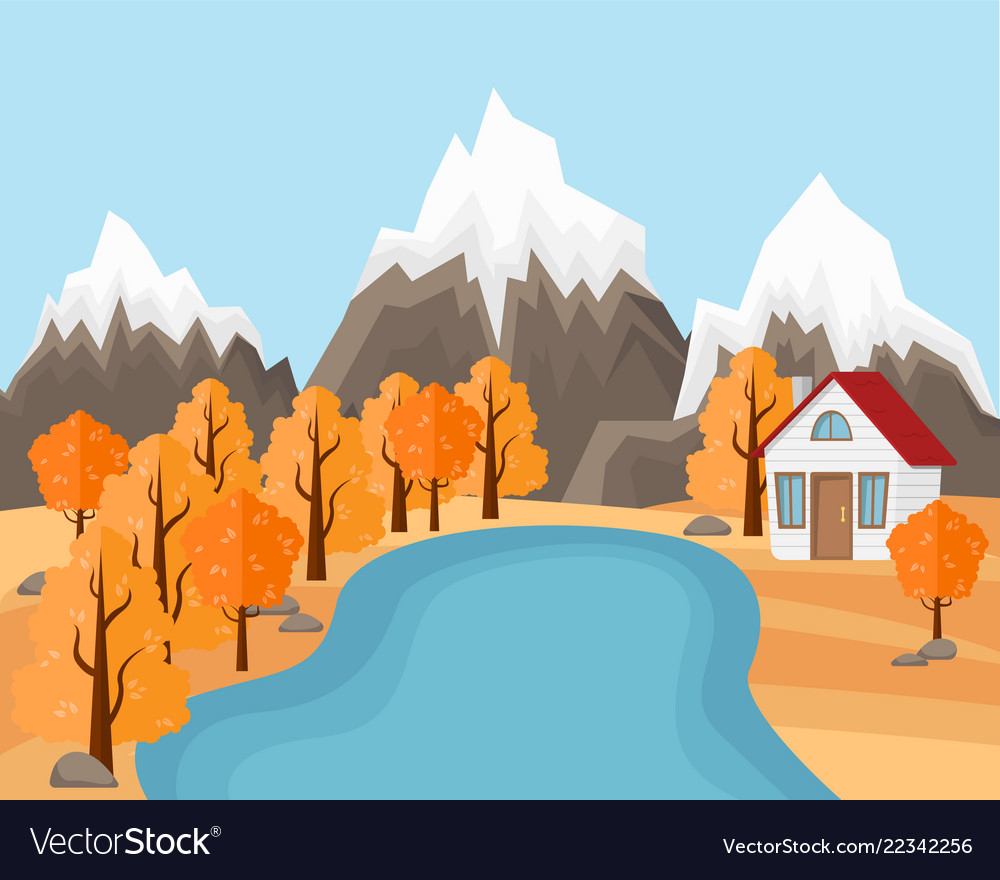 Country house near the pond and mountains
